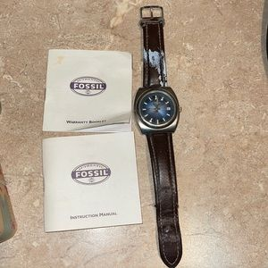 Auth Fossil brown leather watch vintage